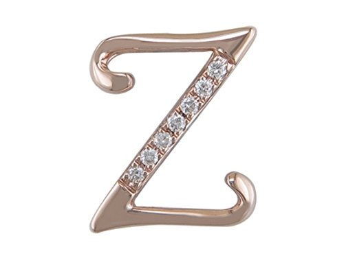JMS Jewelry 18K Rose Gold Initial Z Pave with Diamond Pendant (90)