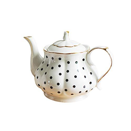 - 1 pcs Afternoon Tea Set Bone Porcelain Wave Point Stripe Hand Painted Gold Teapots Coffee Simple Kettle