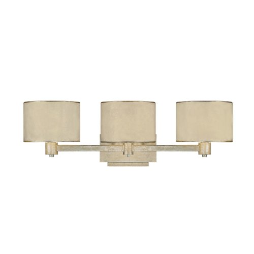 Capital Lighting 1008WG-410 Vanity with Moonlit Mica Fabric Shades, Winter Gold Finish