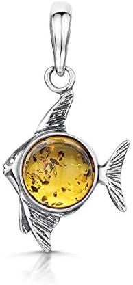 Amberta 925 Sterling Silber mit baltischer Bernstein – Fisch Anhänger