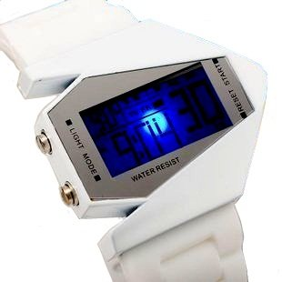 Youyoupifa White Style Digital Display LED Silicone Wrist Watch