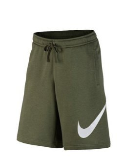 NIKE Jersey Shorts With Large Logo (L, Olive Canvas/White)