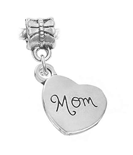 (Mom Sideways Heart Daughter Gift Cursive Dangle Charm for European Bracelets Crafting Key Chain Bracelet Necklace Jewelry Accessories Pendants)