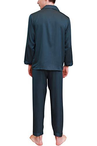 Lungo Camicia Estate Bottoni NotteControllare Per Yaomei Coppie Uomo Da Con Pigiama Raso2019 Verde Collare Pocket Primavera f6y7gb