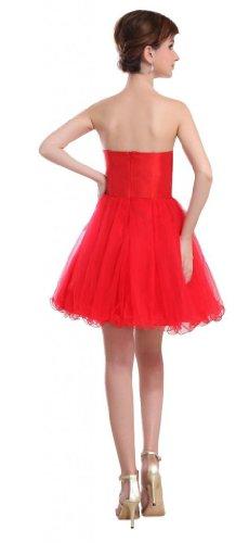 Orifashion - Vestido - Bandeau / bustier - Sin mangas - para mujer Rojo