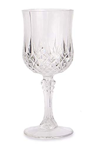 12 Oz. Crystal Like Wine Glasses, Plastic Disposable Glass, Ideal for Bridal Shower, Anniversary Dinner, More, 8 Count