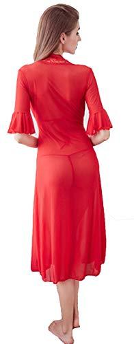 Fasciante Pizzo Camicia Appeso V Collo Punti Deaman A Rosso Collo Tre Donna Fionda Notte Da Pezzi Pigiami Due v7Cqg