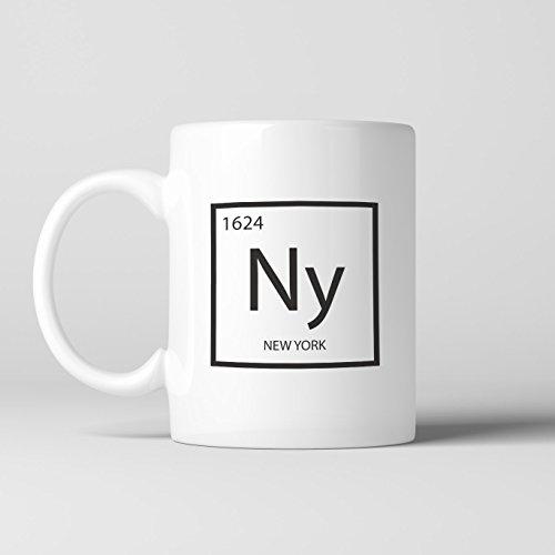 LIZNICE - New York Element Coffee Mug, NY Cup, Black, Science, Periodic Table, MUG - White Ny Plains Shopping