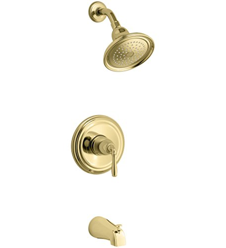 - KOHLER TS395-4-PB Devonshire Rite-Temp bath and shower valve trim with lever handle, NPT spout and 2.5 gpm showerhead, Polished Brass,