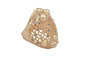 18K Gold Rings Net Style Inlay Cubic Zirconia and Sapphire for Women or Girls -Size 9 US