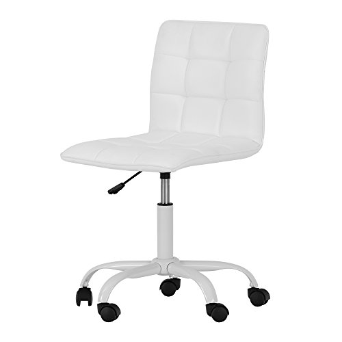 Cheap Annexe White Office Chair with Quilted Seat – Ergonomic Executive Office Chair – Mid Back Chair for Home Office by South Shore