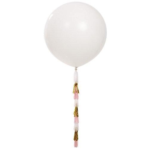 "Ling's moment 36"" Giant White Balloons with Tassel Tails, Latex Balloon Tassel Banner, Fringe Tail Balloon, Tissue Tassel Balloon Garland, for Wedding Birthday Valentine Bridal Shower Engagement"