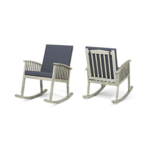 Great Deal Furniture Audrey Outdoor Acacia Wood Rocking Chairs (Set of 2), Light Gray and Dark -