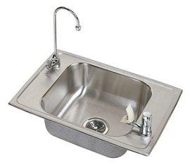 Elkay CDKR2517VRC Celebrity Double Ledge Classroom Sink, Single Bowl, Vandal Resistant Sink Package - Stainless Steel Elkay Classroom Sinks