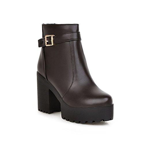 Dear Time Women Fashion Zipper High Block Heels Buckle Decorated Ankle Boots Brown GPpDzHJd