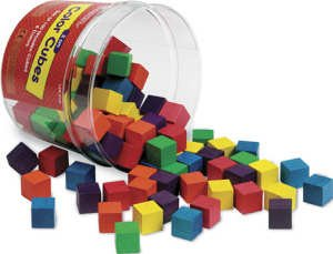 Wooden Color Cubes, 1-inch - Cube Colored