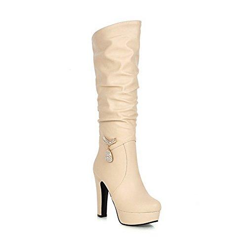AdeeSu Girls Chunky Heels Metal Ornament Platform Imitated Leather Boots apricot fL2QxQpN8w