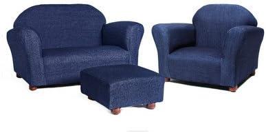 Keet Roundy Denim Children's Chair, Sofa and Ottoman Set, Denim Blue, 33 pounds