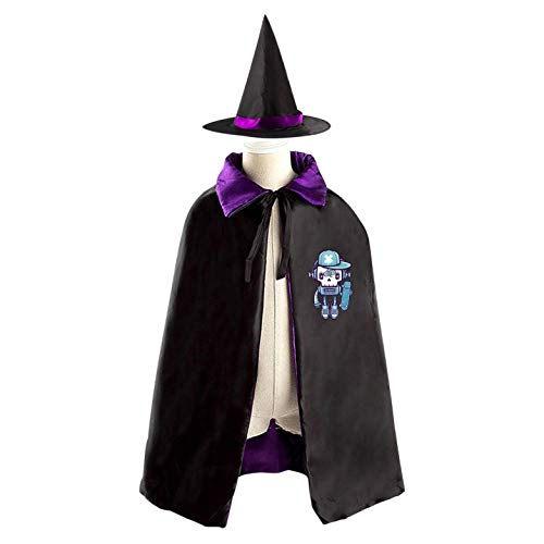 69PF-1 Halloween Cape Matching Witch Hat Blue Robot Wizard Cloak Masquerade Cosplay Custume Robe Kids/Boy/Girl Gift Purple]()