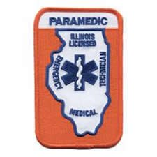 ILLINOIS LICENSED INTERMEDIATE - (IRON-ON) 3 X 4-3/4 - Star of Life - IL DEPT OF HEALTH - IL Department of Health - Paramedic Logo Uniform Patch Embroidered Sign Badge - UNIFORM WORLD (Dept Embroidery Fire)