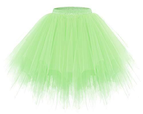 Bridesmay Women's Tutus Tulle Skirt 50s Vintage Petticoat Ballet Bubble Skirts Mint M