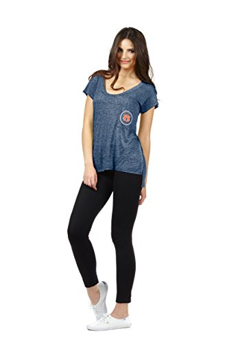 Chicka-d Auburn NCAA Women's Scoop Neck Pocket T-Shirt - Auburn University Tigers - University Tigers Pocket