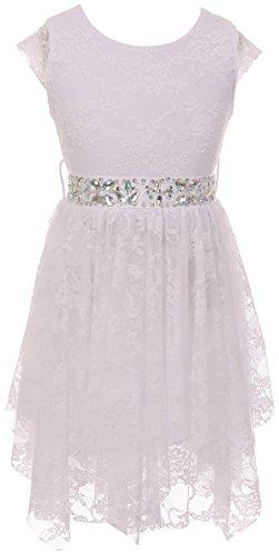 Big Girl Short Sleeve Floral Lace Ruffles Communion Flower Girl Dress White 10 JKS 2095 -