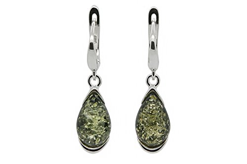 925 Sterling Silver Drop Leverback Dangle Earrings with Genuine Natural Baltic Green Amber. ()
