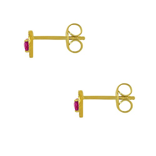 Tous mes bijoux - Boucles d'oreilles - Or jaune 9 cts - Rubis - BODM01023