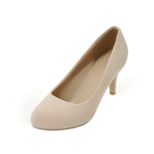 Odomolor Women's Frosted High-Heels Solid Pull-On Round-Toe Pumps-Shoes Beige