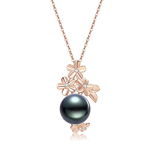 (18K Gold Round Diamond 12mm Genuine Black Tahitian South Sea Cultured Pearl Infinity Pendant Necklace for Women with 18
