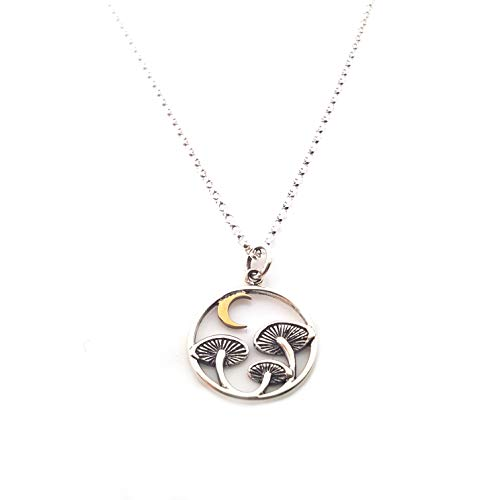 (Mushroom with Bronze Moon Charm Necklace - Dainty Sterling Silver Jewelry )