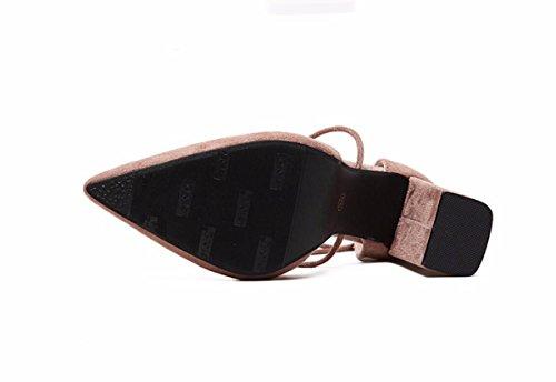 Baotou Mujeres Tacon Salvajes Roma de 8 Alto Rough Tarde Zapatos Sandalias De Verano Durmientes Cm Zapatos GTVERNH Pink Mujer Heels Noches de Noche Verano Puntiagudas De 7qnaP8P1