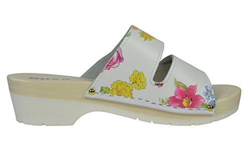 Buxa Sandalias / Zuecos para Mujer con Doble Velcro Correa, Suela de Madera y Caucho Flores