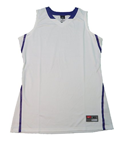 Nike Dri Fit Hyper Elite Jersey - Women's Athletic Baseball Sleeveless T-Shirt (Medium, White/Purple)