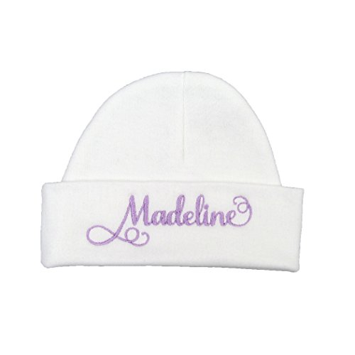 Ava's Miracles Personalized Baby Girl Hat with Elegant Script Font (Newborn)