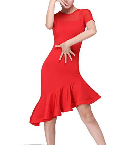 Whitewed Latin Rhythm Salsa Dancer Dance Dancing Attires Wear Costumes Halloween Dresses Red]()