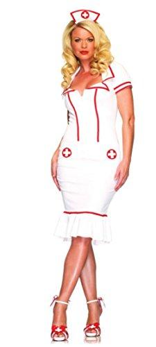 [Leg Avenue Womens Miss Diagnosis Doctor Nurse Outfit Fancy Dress Sexy Costume, M/L (8-14)] (Plus Size Nurse Outfit)