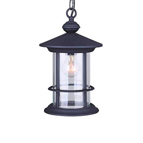 (Pendant Lights YSJ LTD Vintage Outdoor Balcony Glass Raindrop Decor European Grape Waterproof Aluminum E27 Pendant Lamp fixtures Black)