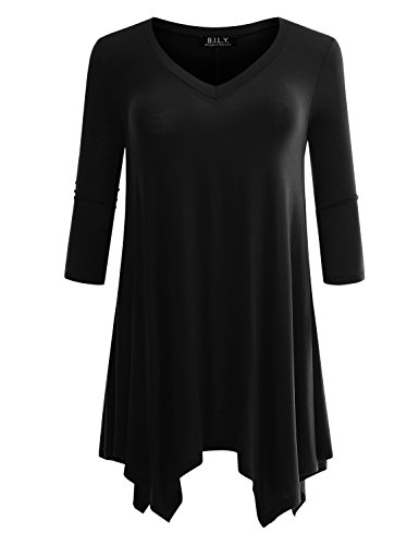 B.I.L.Y BILY Womens Plus Sizes Available 3/4 Sleeve Swing Loose Fit Flattering Tunic Top for Leggings
