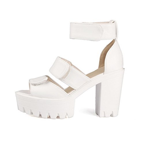 AmoonyFashion Womens High Heels Soft Material Solid Hook And Loop Peep Toe Sandals White eRVRpq