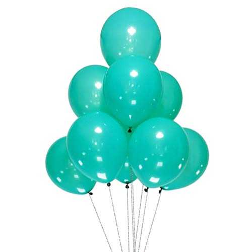 AZOWA 100 Pcs Teal Blue Balloons 12 inch Latex Party Balloons for Wedding Engagement Baby Shower Birthday Party Decorations