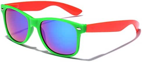 Colorful Two Tone Retro Fashion Sunglasses - Color Mirrored Lens