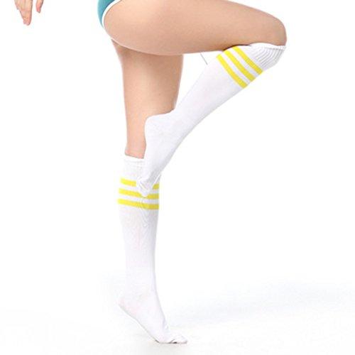 (Unisex Stripe Football Soccer Sports Team Socks and Middle socks (white yellow stripes))