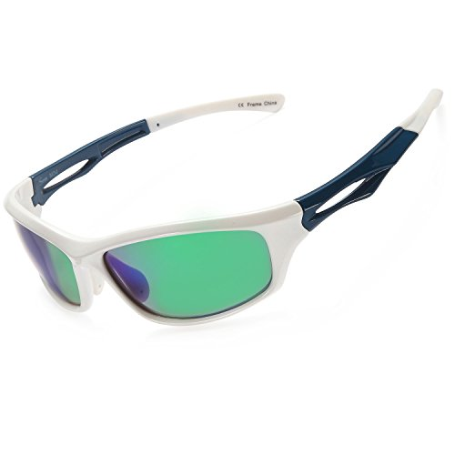 Siren Polarized Sports Sunglasses w Case TR90 Unbreakable Frame (Mirror Green Lens on White Blue Frame)