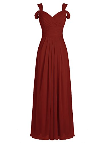 ALAGIRLS Long Off The Shoulder Bridesmaid Dress Chiffon Evening Prom Dress Burgundy US2