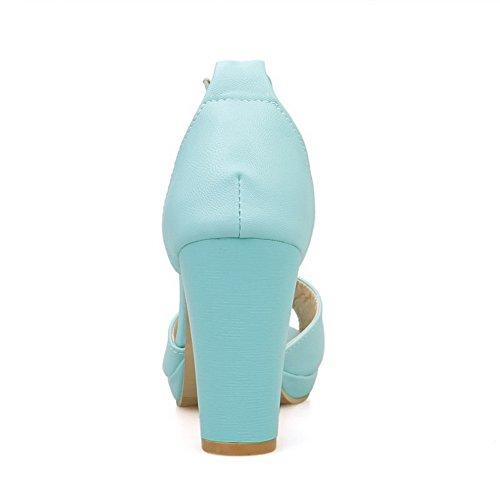 AmoonyFashion Womens Solid PU High-Heels Peep Toe Buckle Heeled Sandals Blue Mjsr6n