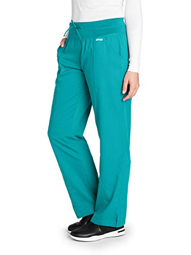 Grey's Anatomy Active 4276 Women's 4 Pocket Low Rise Wide Waist Scrub Pant Peacock Blue S