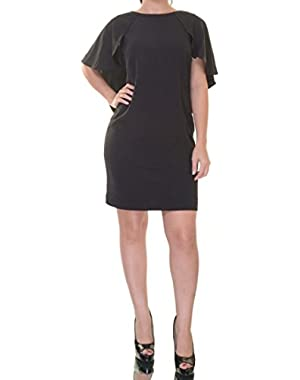 Flutter Sleeve Sheath Dress, Black