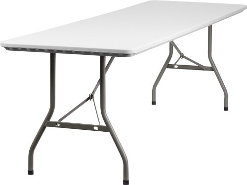 Flash Furniture RB-3096-GG 30-Inch Width by 96-Inch Length Plastic Folding Table, Gray/White (White Resin Table compare prices)